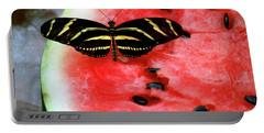 Zebra Longwing Butterfly On Watermelon Slice Portable Battery Charger