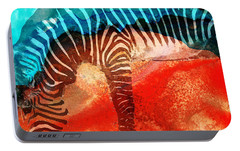 Zebra Love - Art By Sharon Cummings Portable Battery Charger by Sharon Cummings