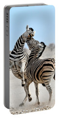 Zebra Stallions Fighting In Etosha Np Portable Battery Charger
