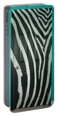 Zebra Stripe Mural - Door Number 1 Portable Battery Charger by Sean Connolly