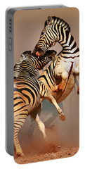 Zebras Fighting Portable Battery Charger