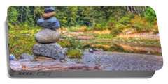 Portable Battery Charger featuring the photograph Zen Balanced Stones On A Tree by Eti Reid