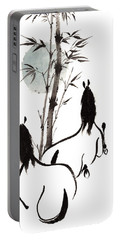 Portable Battery Charger featuring the painting Zen Horses Moon Reverence by Bill Searle