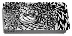 Portable Battery Charger featuring the drawing Zentangle Rooster by Jani Freimann