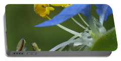 Close View Of Slender Dayflower Flower With Dew Portable Battery Charger
