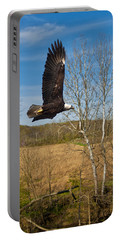 Portable Battery Charger featuring the photograph  Eagle Circleing Her Nest by Randall Branham