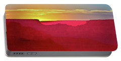 Portable Battery Charger featuring the painting   Sunset At Grand Canyon Desert View by Bob and Nadine Johnston