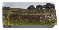 Beautiful California Vineyard Framed With Flowers Portable Battery Charger