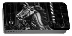 Portable Battery Charger featuring the photograph Carousel Horses Mono by Steve Purnell