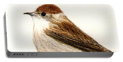 Portable Battery Charger featuring the drawing Female Blackcap  by Barbara Moignard