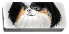 Portable Battery Charger featuring the drawing Japanese Chin Dog Portrait by Jim Fitzpatrick