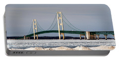 Mackinac Bridge In Winter Portable Battery Charger