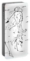 Portable Battery Charger featuring the drawing Malipenga Dance - Malawi by Gloria Ssali