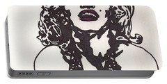 Portable Battery Charger featuring the drawing Marilyn Monroe by Jeremiah Colley