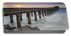 Pier At Sunset Portable Battery Charger by Fran Gallogly