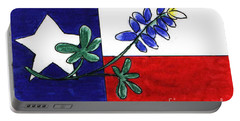 Portable Battery Charger featuring the drawing Texas Bluebonnet by Vonda Lawson-Rosa