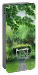 Portable Battery Charger featuring the painting the garden at the wellers carriage house in Saline  Michigan 1 by Yoshiko Mishina