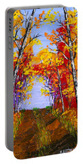 White Birch Tree Abstract Painting In Autumn Portable Battery Charger by Keith Webber Jr