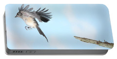 Tufted Titmouse In Flight Portable Battery Charger by Ted Kinsman