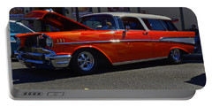 Portable Battery Charger featuring the photograph 1957 Belair Wagon by Tikvah's Hope