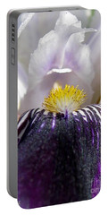 Portable Battery Charger featuring the photograph Miniature Tall Bearded Iris Named Consummation by J McCombie