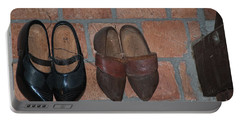 Portable Battery Charger featuring the digital art Old Wooden Shoes by Carol Ailles