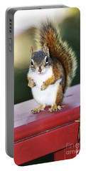 Red Squirrel On Railing Portable Battery Charger