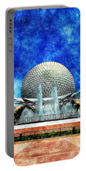 Portable Battery Charger featuring the digital art Spaceship Earth And Fountain Of Nations by Sandy MacGowan