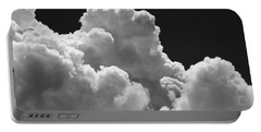 Black And White Sky With Building Storm Clouds Fine Art Print Portable Battery Charger