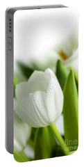 White Tulips Portable Battery Charger by Nailia Schwarz