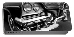 58 Plymouth Fury Black And White Portable Battery Charger