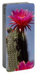 Pink Cactus Flower Portable Battery Charger by Jim And Emily Bush