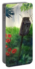 Portable Battery Charger featuring the painting A Bird House In The Geddes Farm --ann Arbor Michigan by Yoshiko Mishina