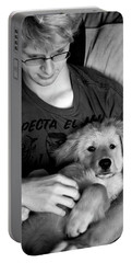 Portable Battery Charger featuring the photograph A Boy And His Dog by Lorraine Devon Wilke