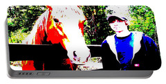 Portable Battery Charger featuring the photograph a Boy and his Horse by George Pedro