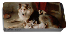A Collie With Fox Terrier Puppies Portable Battery Charger