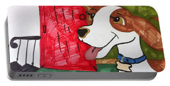 A Dog Is Heading Out The Door. Portable Battery Charger