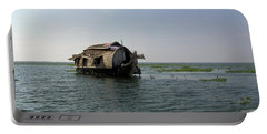 A Houseboat Moving Placidly Through A Coastal Lagoon In Alleppey Portable Battery Charger by Ashish Agarwal