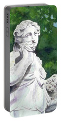Portable Battery Charger featuring the painting A Statue At The Wellers Carriage House -1 by Yoshiko Mishina
