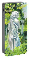 Portable Battery Charger featuring the painting A Statue At The Wellers Carriage House -3 by Yoshiko Mishina