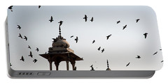 A Whole Flock Of Pigeons On The Top Of The Ramparts Of The Red Fort In New Delhi Portable Battery Charger by Ashish Agarwal