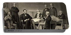 Portable Battery Charger featuring the photograph Abraham Lincoln At The First Reading Of The Emancipation Proclamation - July 22 1862 by International  Images