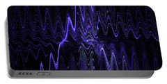 Abstract Digital Blue Waves Fractal Image Black Computer Art Portable Battery Charger
