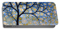 Abstract Tree Nature Original Painting Starry Starry By Amy Giacomelli Portable Battery Charger by Amy Giacomelli
