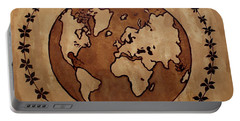 Abstract World Globe Map Coffee Painting Portable Battery Charger
