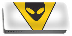 Alien Grey Hazard Graphic Portable Battery Charger by Pixel Chimp