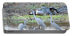 Portable Battery Charger featuring the photograph Alligator Looking For Food by Dan Friend