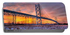 Ambassador Bridge Sunrise 1-16-2012  Detroit Mi Portable Battery Charger