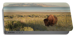 Portable Battery Charger featuring the photograph American Bison Antelope Island Utah by Doug Herr