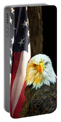 Portable Battery Charger featuring the photograph American Eagle And American Flag by Randall Branham